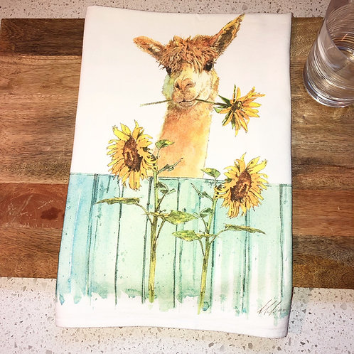rainy Day Illustrations Alpaca and Sunflower flour sack towel
