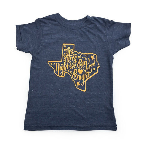 Stars at Night vintage navy t-shirt, youth clothing, Mitten and Moustache, texas t-shirt, children's clothing