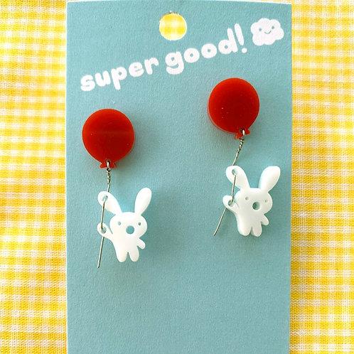 super good! Mini Concerned Bunny earrings