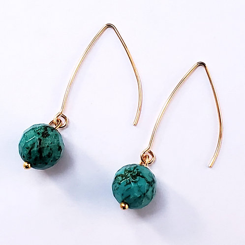 Turquoise faceted teardrop earrings, Gem Junkie
