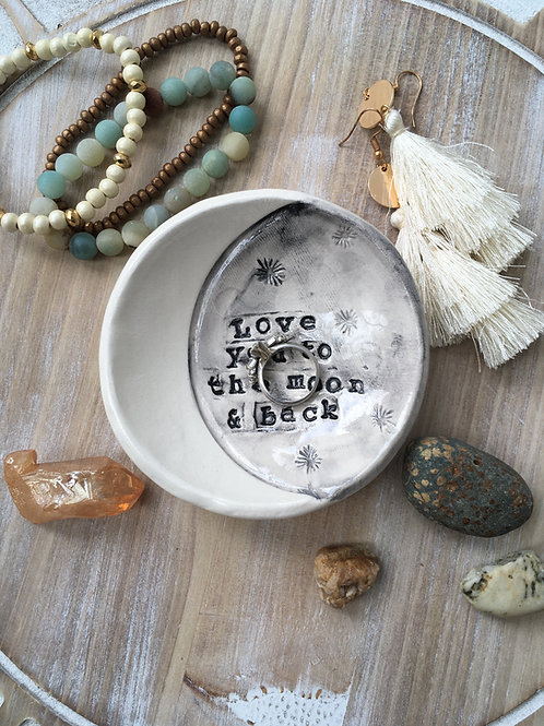 Tiny Happy Clay, Love you to the moon and back, ceramic ring dish