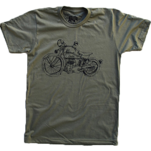 1929 Indian Motorcycle Army Green t-shirt, Paulville Goods, front
