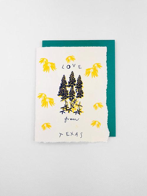 Love From Texas Card, Victrola Studio, texas greeting card, blank greeting card