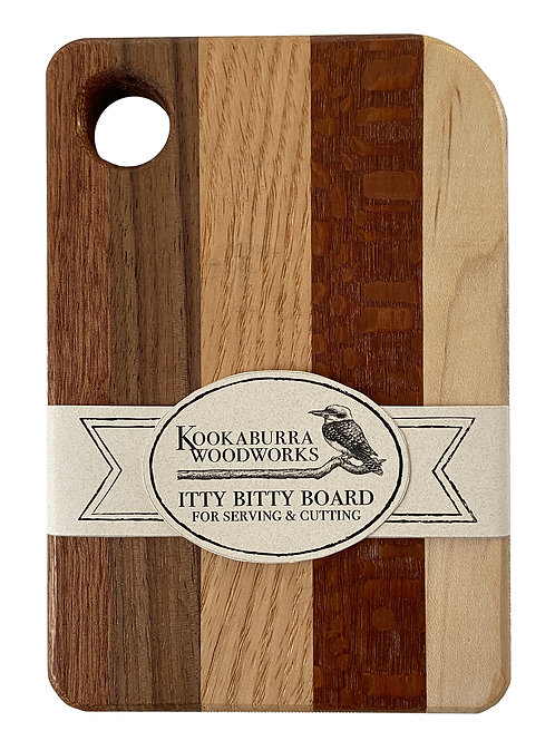 Itty Bitty Board for serving and cutting, Kookaburra Woodworks, wooden cutting board, small cutting board, foodie gift