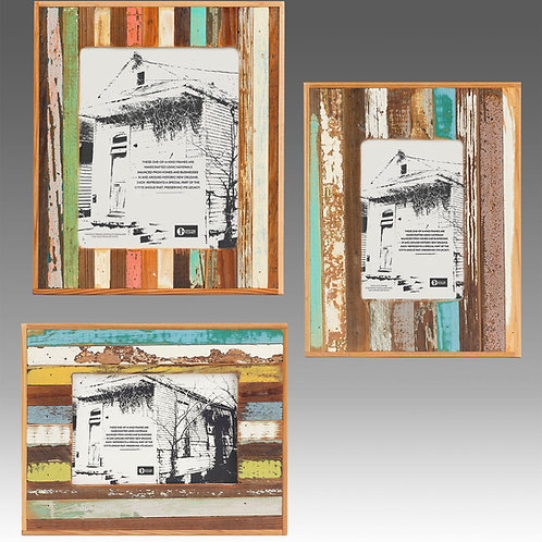 Bergeron Woodworks striped frame, 5 x 7, salvaged wood, upcycled gift