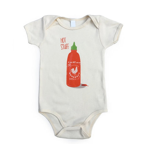 Hot Stuff Sriracha Bodysuit, infant clothing, baby clothes, Mitten and Moustache, baby gift