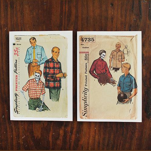 The Wonderful Adventure 50s vintage pattern mens, greeting cards