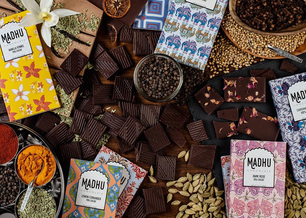 Madhu Chocolate bars and ingredients
