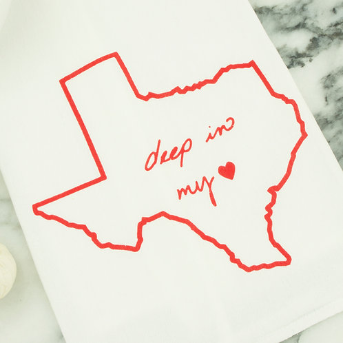 Deep in my Heart tea towel, Kimball Prints, detail, Texas gift, Texas towel, kitchen towel