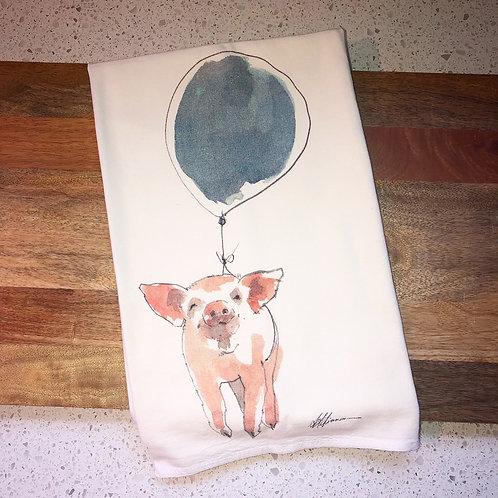 Rainy Day Illustrations Pig Balloon Flour Sack Towel