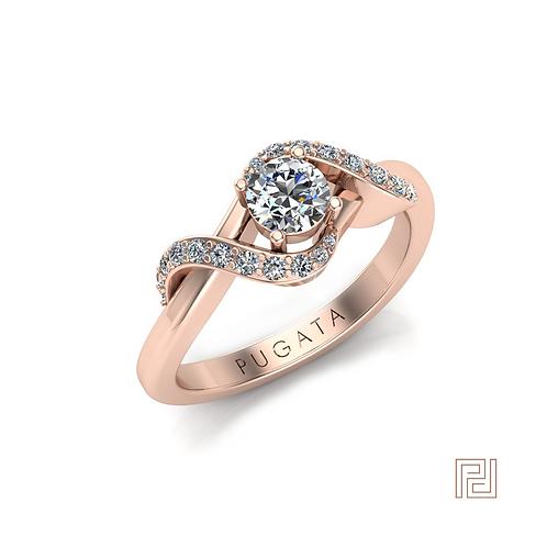Rose Gold Diamond Open Wrap Around Ring