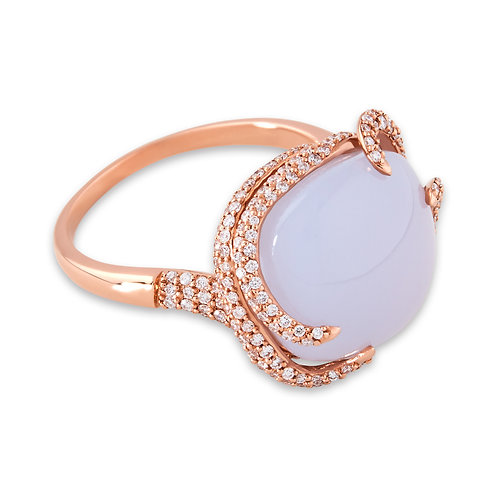 Rose Gold Milky Chalcendony Ivy Dress Ring