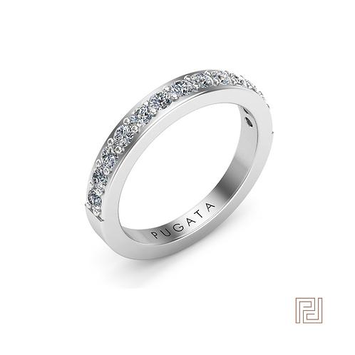 White Gold 2.5mm 50% Amy Wedding Ring