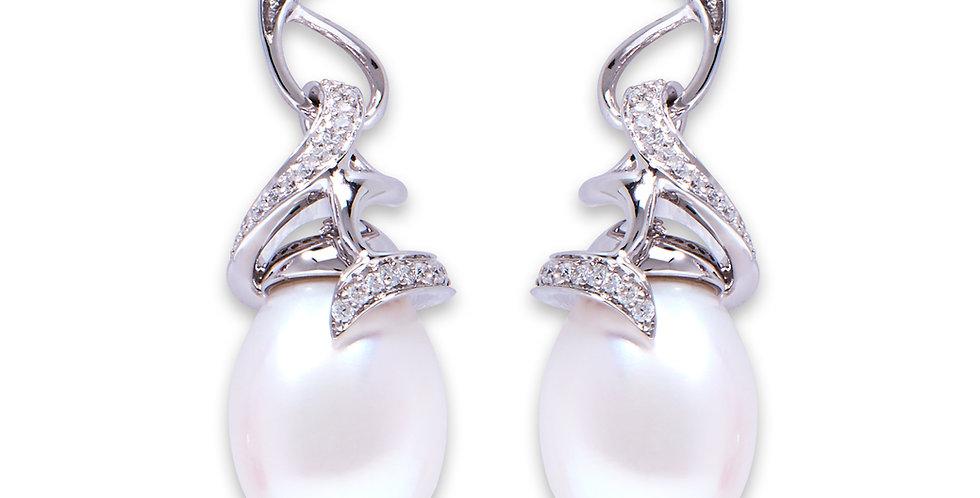 White Gold Pearl Twirl Drop Earrings