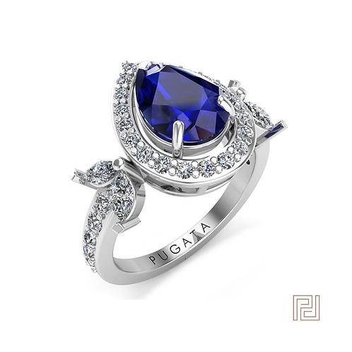 White Gold Sapphire Aurora Ring