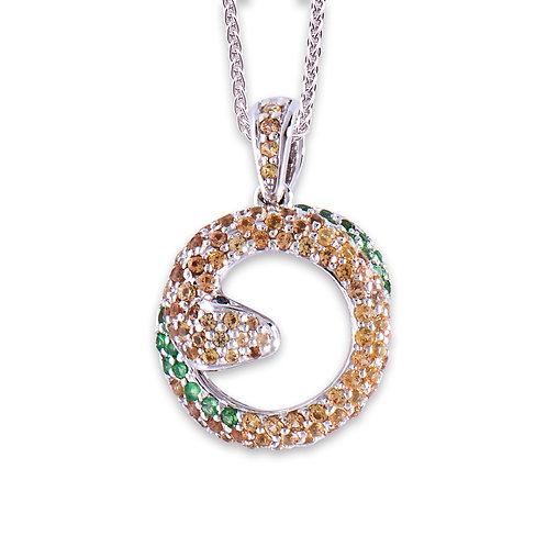 White Gold Sapphire Snake Pendant