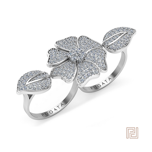 White Gold Flower & Leaf Double Ring