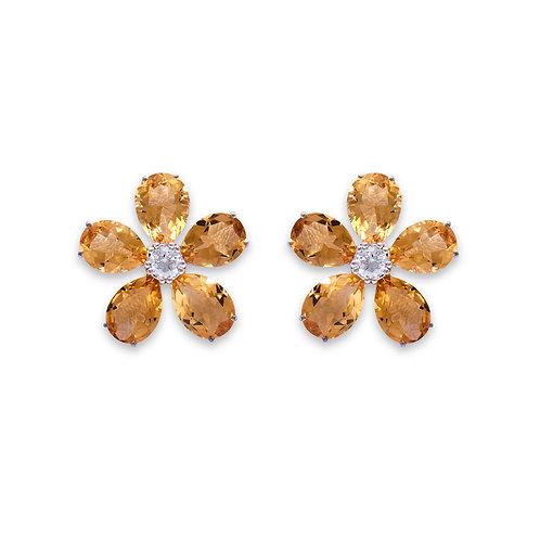White Gold Citrine Chrysanthinum Earrings