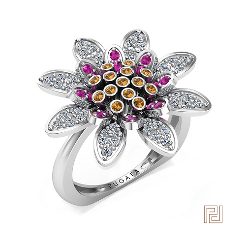 White Gold Daisy Ring
