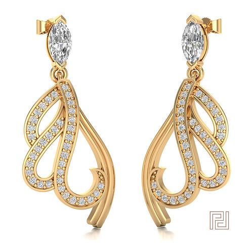 Yellow Gold Wave Drop Earrings