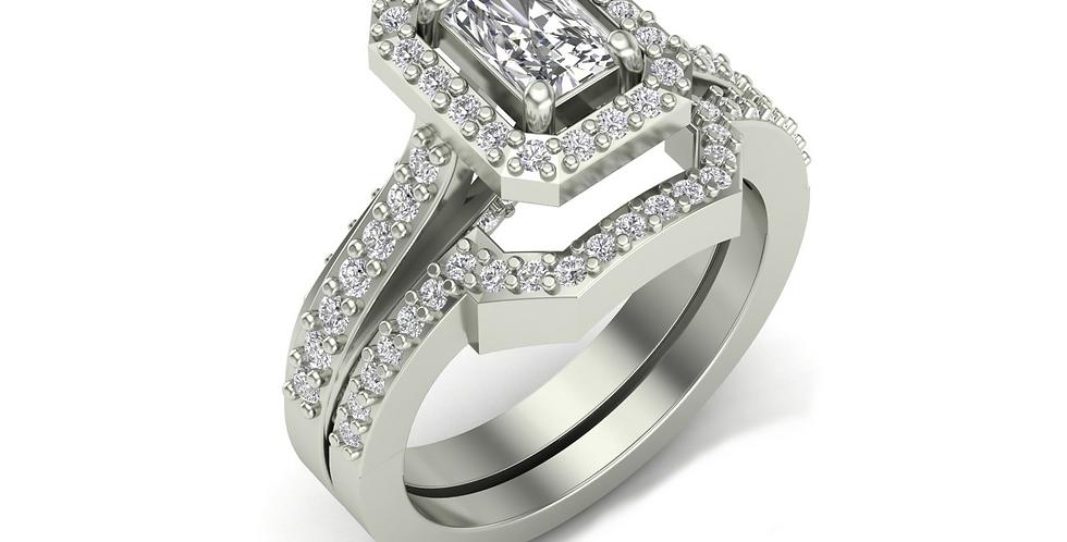White Gold Radiant Halo Ring