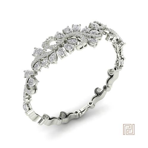 White Gold Floral Bracelet