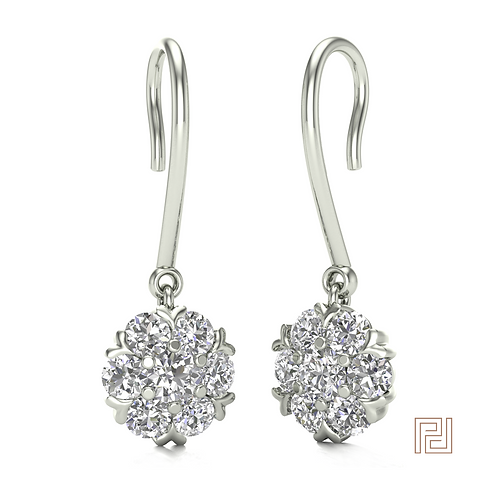 White Gold Heart Flower Cluster Drop Earrings