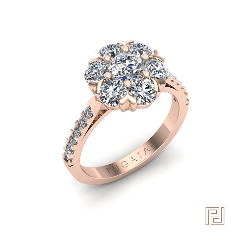 Rose Gold Heart Flower Cluster Ring