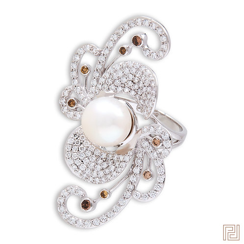 White Gold Large Peony Pearl Ring