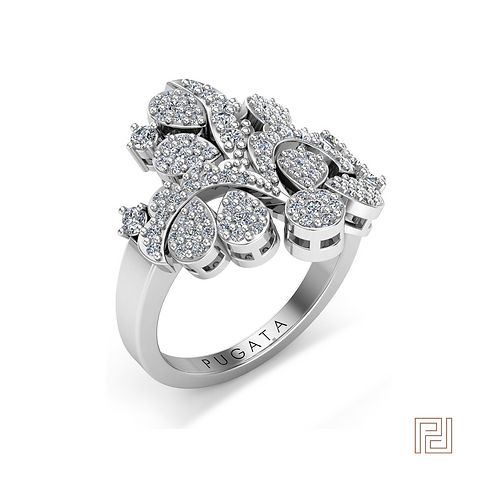 White Gold Floral Dress Ring