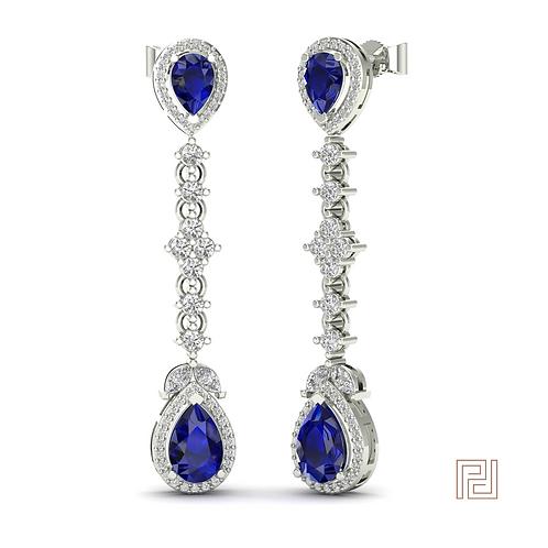 White Gold Sapphire Aurora Drop Earrings
