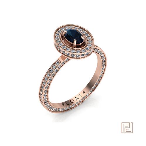 Rose Gold Blue Sapphire Stella Halo Ring
