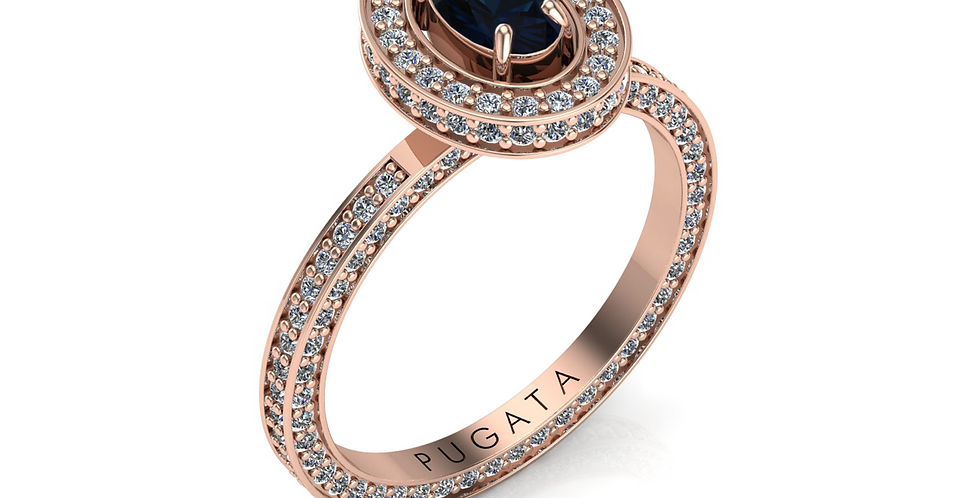 Rose Gold Blue Sapphire Stella Halo Ring