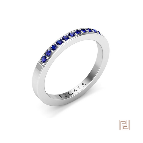 White Gold Sapphire 2mm 30% Amy Wedding Ring