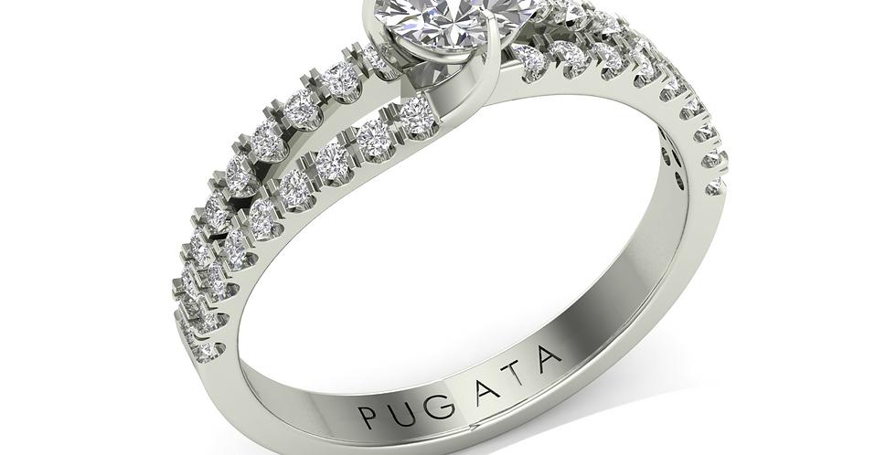 Platinum Split Tulip Solitaire Ring