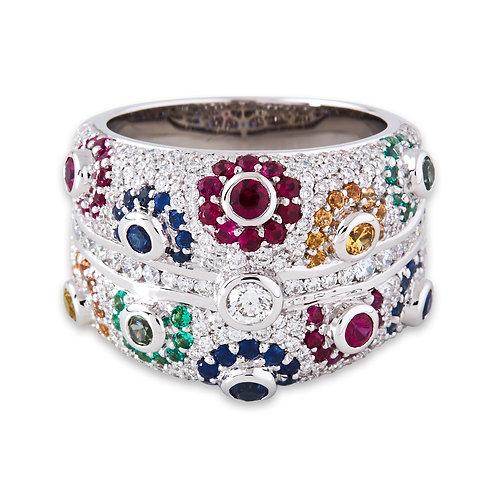 White Gold Tutti-Frutti Dress Ring