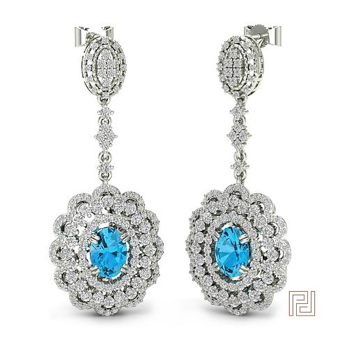 White Gold Dahlia Drop Earrings