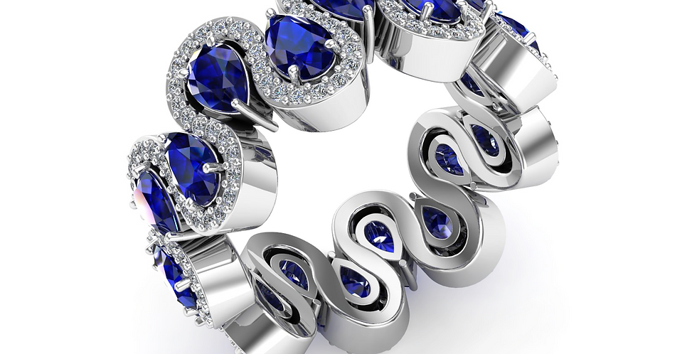 White Gold Sapphire Full Wiggle Dress Ring