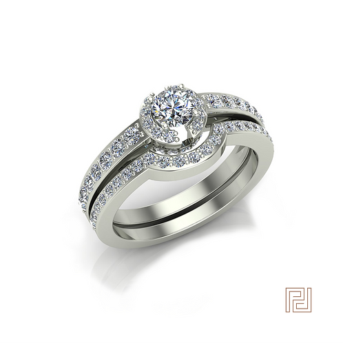 White Gold Open Halo Solitaire