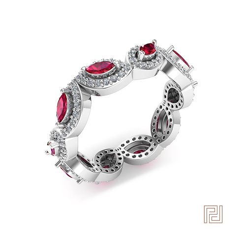 White Gold Rachel Ruby Dress Ring