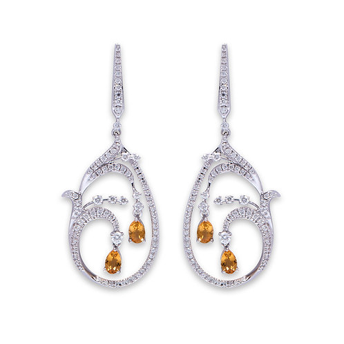 White Gold Orchid Drop Earrings