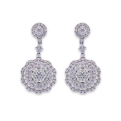 White Gold Concentric Drop Earrings
