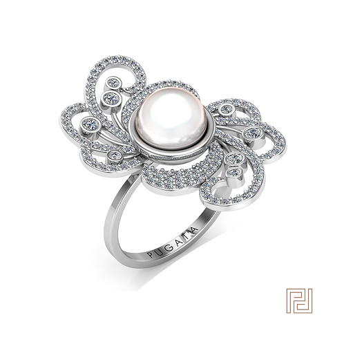White Gold Medium Peony Pearl Ring