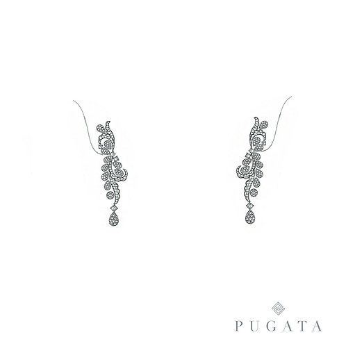 White Gold Floral Drop Earrings
