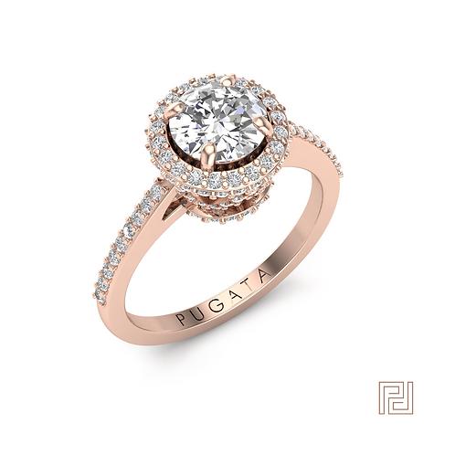Rose Gold Halo Crown Ring