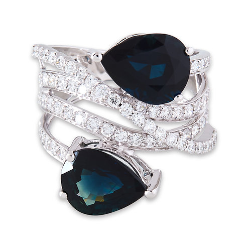 Platinum Pear Sapphire Wide Dress Ring