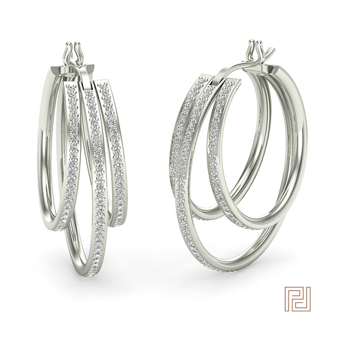 White Gold Triple Hoop Earring