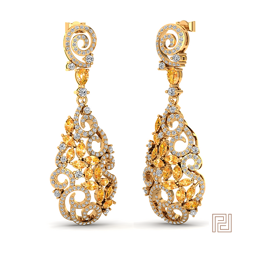 Yellow Gold Royal Spiral Drop Earrings