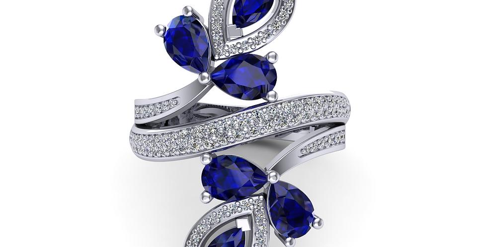 Platinum Sapphire Fantasy Dress Ring