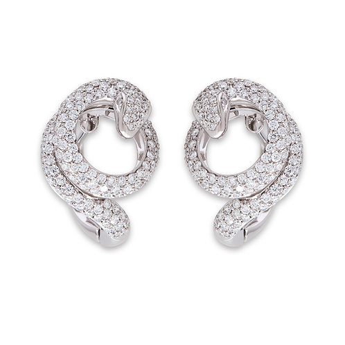 White Gold Diamond Snake Earrings